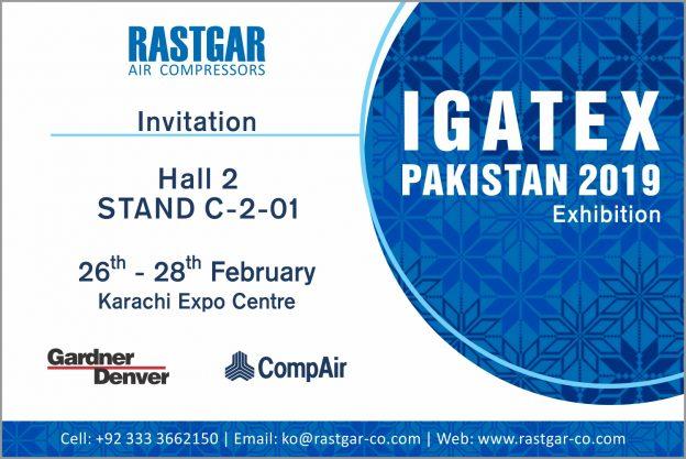 CompAir Air Compressors on Display at IGATEX Pakistan 2019 - Rastgar